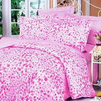 Pink Bubbles, 100% Cotton 4PC Duvet Cover Set (Full Size)